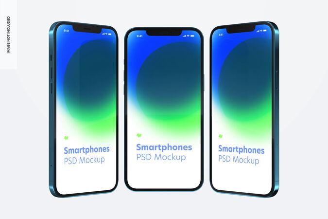 智能手机模型 正面和侧面视图