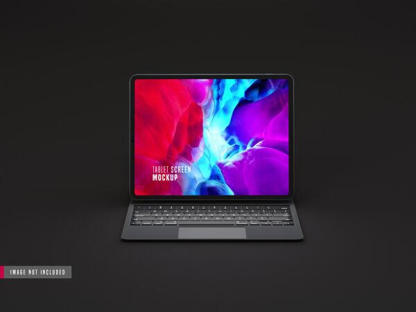 现实黑暗平板电脑专业样机 带键盘