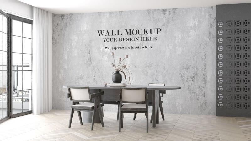 明亮的客厅墙壁模型
