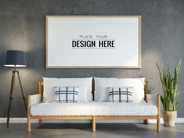 客厅模型中的海报框架