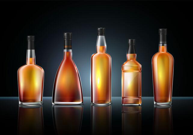 白兰地干邑威士忌玻璃瓶插图
