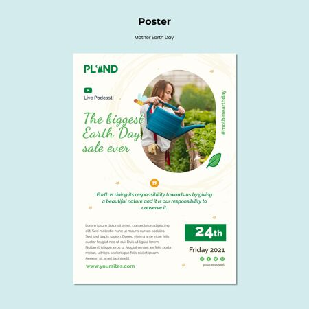 地球母亲节庆祝海报模板