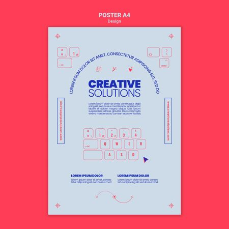 创意商业解决方案的垂直海报模板