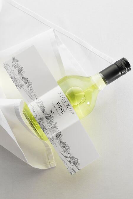 酒瓶标签模型平放