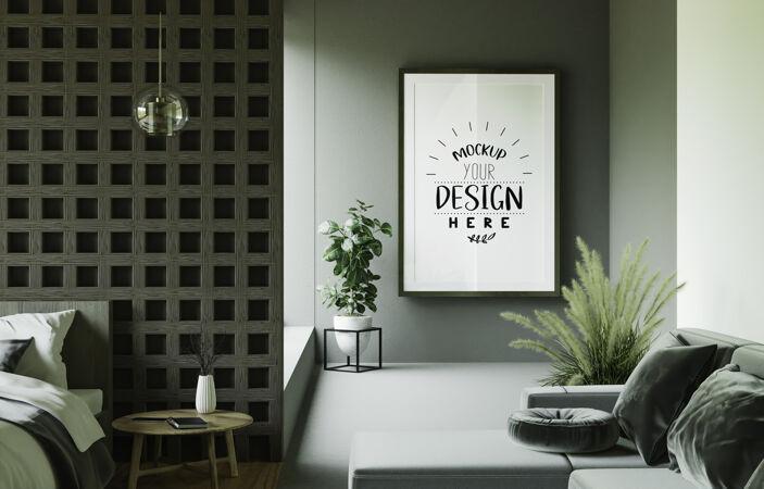 海报框架模型在墙上与植物