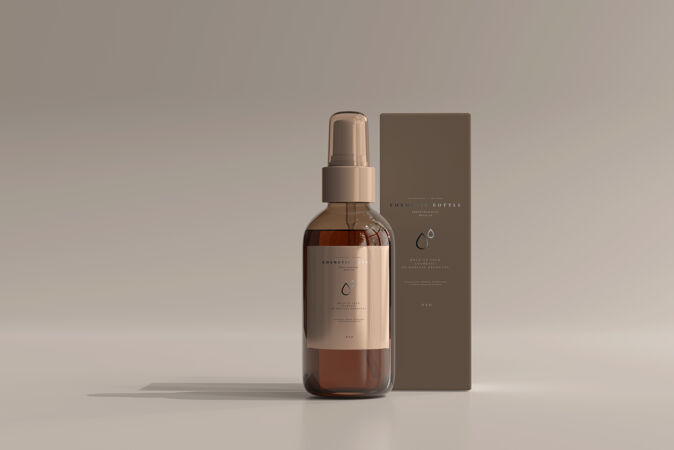 琥珀色玻璃化妆品喷雾瓶盒模型