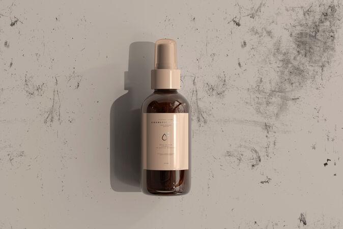 琥珀色玻璃化妆品喷雾瓶模型