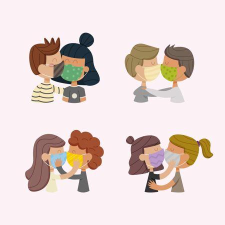 手绘情侣用covid面具接吻插图