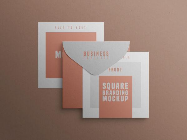 方形品牌模型与名片和信封
