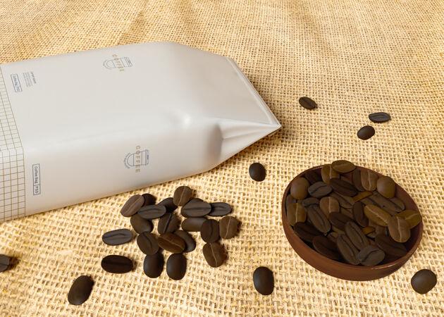 纸袋咖啡豆模型