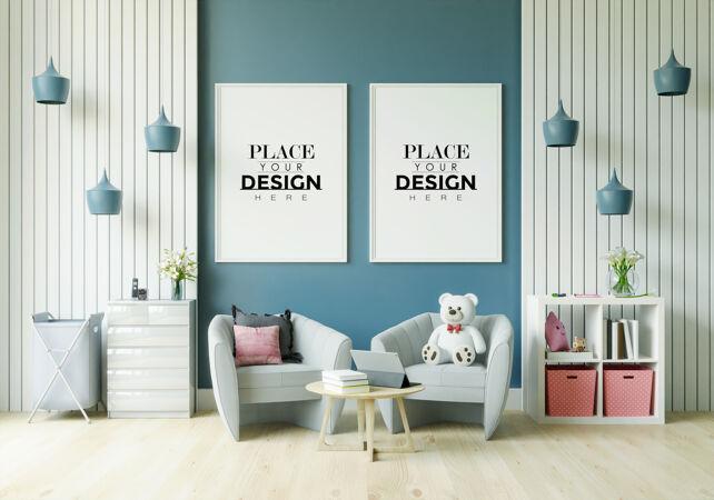 儿童卧室模型中的海报框架