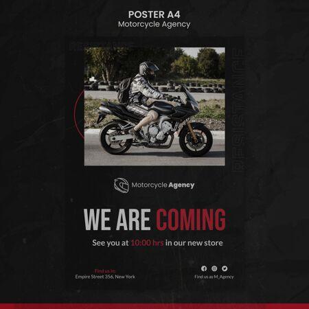 广告模板摩托车代理与男性车手
