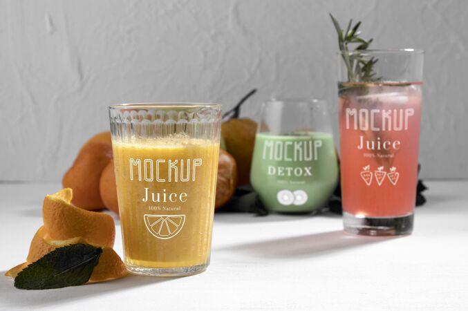 美味排毒果汁概念模型